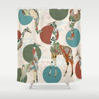 polka Shower Curtains featuring Giraffe Polka by Paula Belle Flores