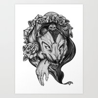 red riding hood Art Prints featuring Riding Hood by FLORA+FAUNA
