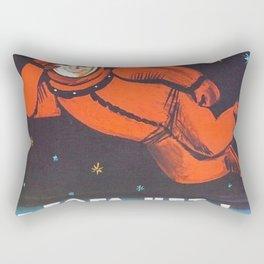 "There's no god! / Бога Нет!"" 1960's USSR anti-religious propaganda Cosmonaut Yuri Gagarin in Space Rectangular Pillow"