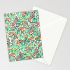 Golden Koi Fish in Pond Stationery Cards