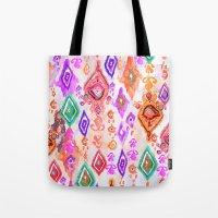 bali Tote Bags featuring Bali Ikat  by Nikkistrange