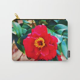 Rich Red Camellia Carry-All Pouch