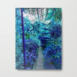 Tropical Green House - Blue Palette  Metal Print