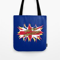 union jack Tote Bags featuring Union Jack by mailboxdisco