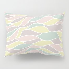 Pastel yellow green coral pink abstract geometric waves Pillow Sham