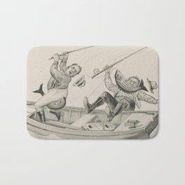 Vintage Funny Fishing Trip Illustration (1882) Bath Mat