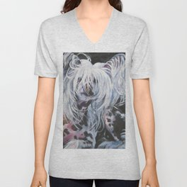 Chinese Crested Dog portrait art from an original painting by L.A.Shepard Unisex V-Neck