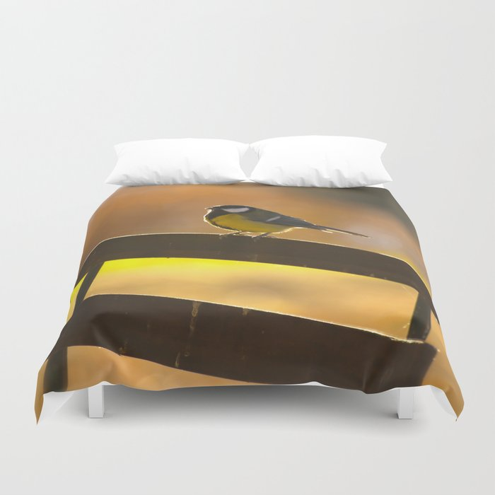 Great Tit On A Chair Duvet Cover