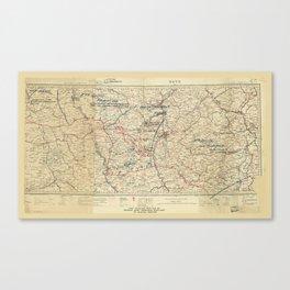 World War I German Army Positions Map (circa 1918) Canvas Print