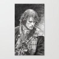 outlander Canvas Prints featuring James Fraser by ellaine