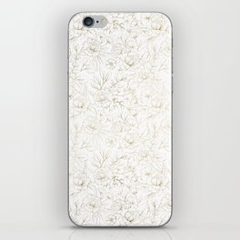 Elegant simple modern faux gold white floral iPhone Skin