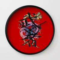 dragon Wall Clocks featuring Dragon by Spooky Dooky