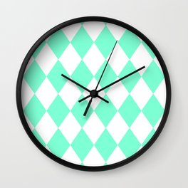 Diamonds (Aquamarine/White) Wall Clock