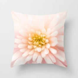 Good Morning - Beautiful Bright Dreamy Spider Mum Flower Light Pink White Yellow Throw Pillow