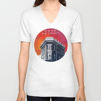 detroit V-neck T-shirts featuring Save Detroit by The Mighty Mitten - Great Lakes Art