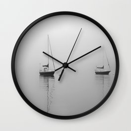 Foggy Harbor North Shore 6 BW Wall Clock