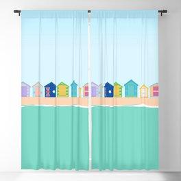 Brighton Beach Bathing Boxes, Melbourne, Australia Blackout Curtain