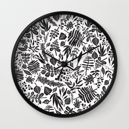Black and white autumn leaves pattern Wall Clock