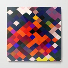 geometric square pixel pattern abstract in orange brown blue yellow Metal Print