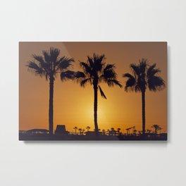 Hawaii Nature Sunset Palm Trees Metal Print