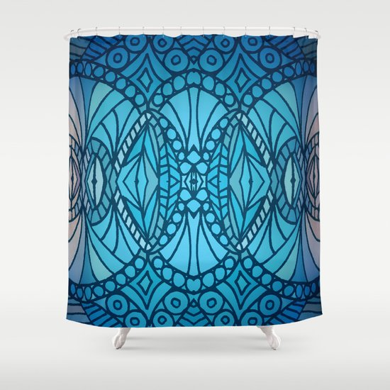 Blue Art Deco Shower Curtain By ArtLovePassion