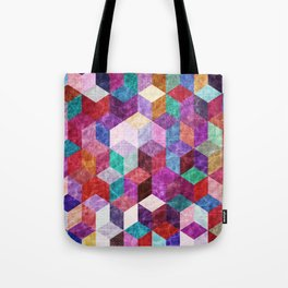Colorful Geometric Pattern #09 (3D Cube) Tote Bag