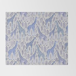Blue Giraffe Pattern Throw Blanket