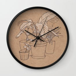 black and white house plants Wall Clock