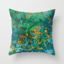 Malachite and Gold Glitter Stone Ink Abstract Gem Glamour Marble Throw Pillow