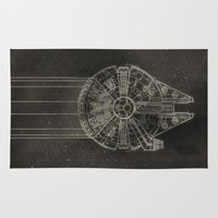falcon Area & Throw Rugs featuring Millennium Falcon by LindseyCowley