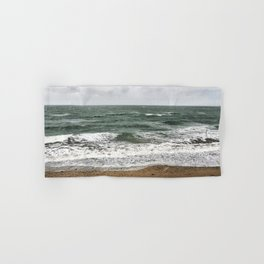 Land and sea under stormy clouds Hand & Bath Towel