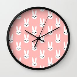 Bunny Rabbit pink and white spring cute character illustration nursery kids minimal floral crown Wall Clock