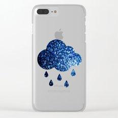Beautiful Dark Blue glitter sparkles Clear iPhone Case