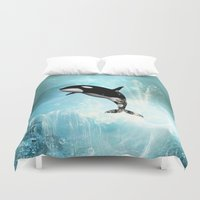 orca Duvet Covers featuring The orca by nicky2342