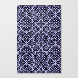 Orchid and Black Damask Pattern Canvas Print