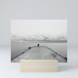 Fisherman on the pier Mini Art Print