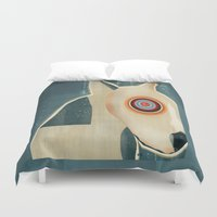 bull terrier Duvet Covers featuring bull terrier days by bri.buckley