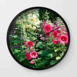 Hollyhocks Wall Clock