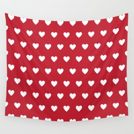 Polka Dot Hearts - red and white Wall Tapestry