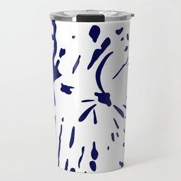 dark blue ink splatter Travel Mug