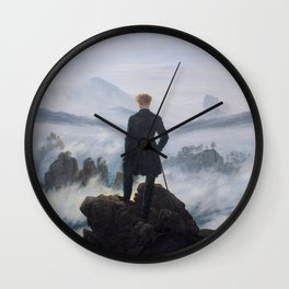 Friedrich Wanderer Above the Sea of Fog Wall Clock