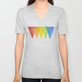 Geometric Watercolor Shapes Triangles Pattern Unisex V-Neck