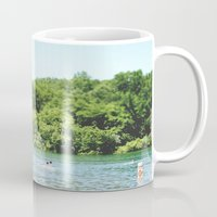 swim Mugs featuring Swim by Christine Hall