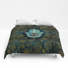 Decorative Hamsa Hand with paisley background Comforters