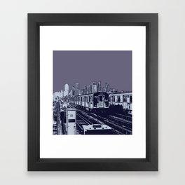 New York, NYC, Subway Train Yard at Night. (Photo collage, travel, gritty streets, graffiti) Framed Art Print