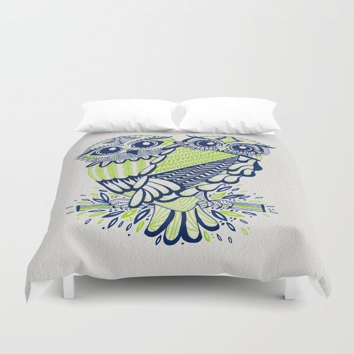 Owls – Navy & Lime Duvet Cover