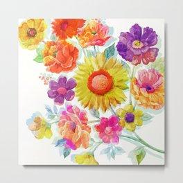Colorful Watercolor Flowers Metal Print