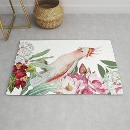 Vintage & Shabby Chic - Antique Pink Cockatoo With Tropical Flowers Garden Rug