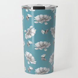Hand painted gray white watercolor floral daisies Travel Mug