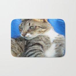 Tabby Cat Against Blue Cloth Background Bath Mat
